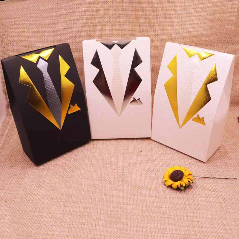 10 pcs 2018 hot sale new Handsome new three -color bow tie gift box kraft box gift box