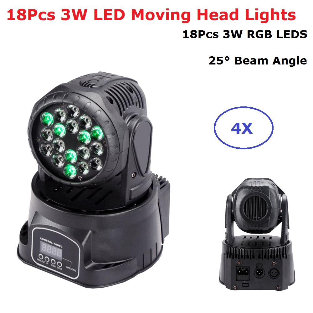 4XLot Mini LED Moving Head Light 18X3W RGB 3 Colors LED Wash Lights DMX 8/13 Channels Dj Party Concert Stage Lighting Effect