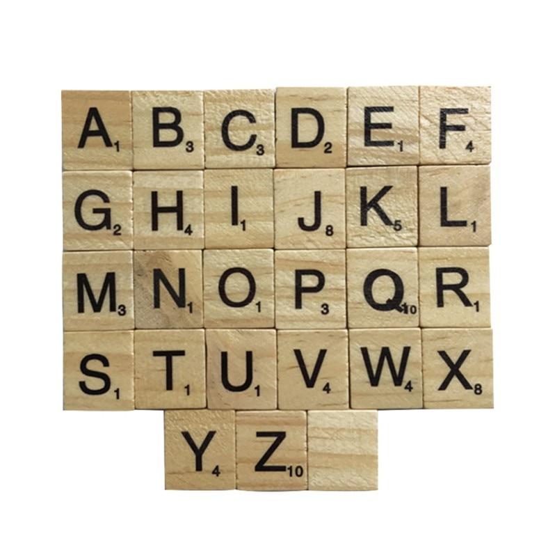 Деревянный 100 ШТ. Алфавита Эрудит Плитки Черные Буквы Цифры Ремесла Статуэтки SS3