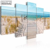 Full Square Drill Diamond Embroidery Seaside Scenery 5D DIY Diamond Painting Cross Stitch Multi Picture