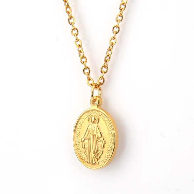 Virgin Mary Pendant Necklace Gold Color Our Lady LInk Chain Cable Trendy Jewelry Birthday Gift for Women/Girls