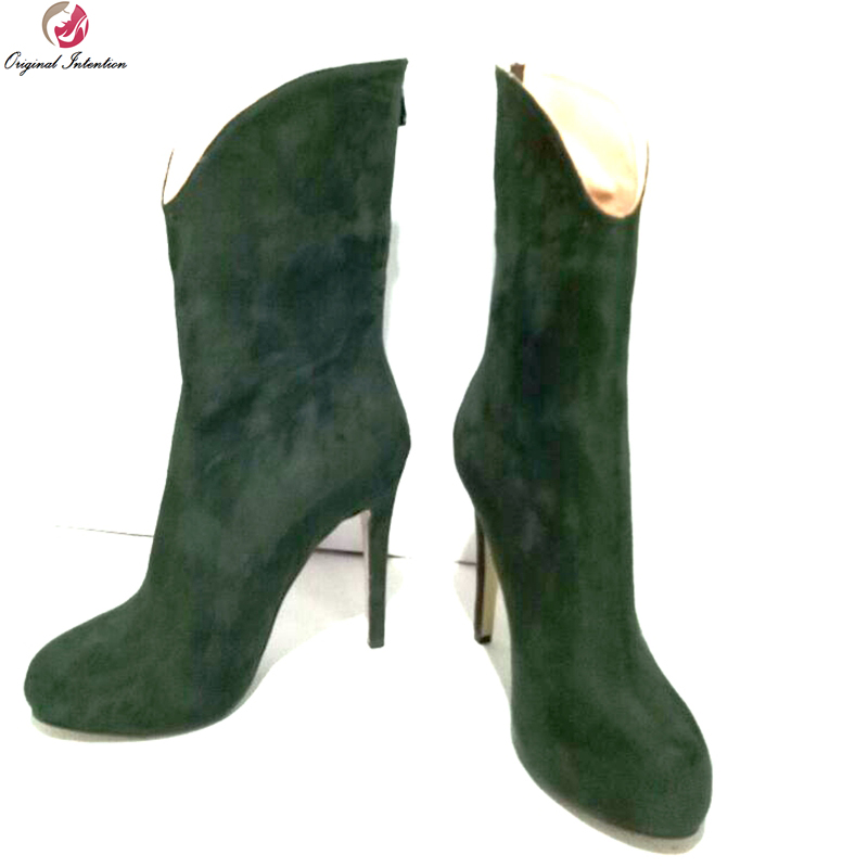 Original Intention Elegant Ankle Boots Popular Round Toe Thin Heels Boots Nice Black Green Shoes Woman  Plus US Size 4-15 totem 15 2016 green black