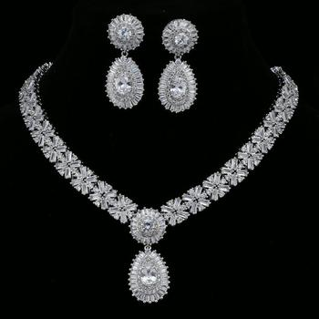 HONGHONG Cubic zirconia 3 Pcs Bride jewelry Sets Women's Necklace Earrings Set 3 Color High quality fashion jewelry
