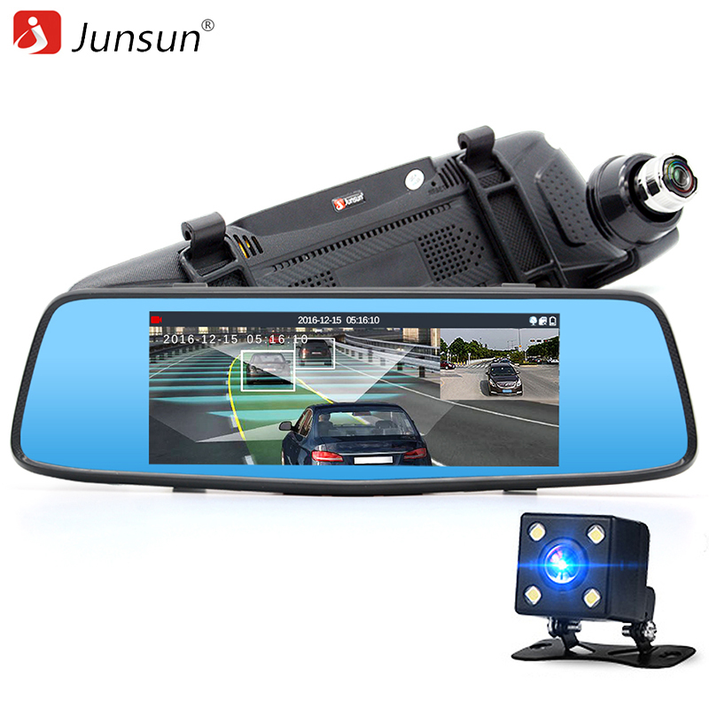 """Prix pour Junsun 7 """"voiture DVR Caméra Miroir avec ADAS LDWS Super Nuit Vision Full HD 1080 P Double Lentille Rétroviseur"""