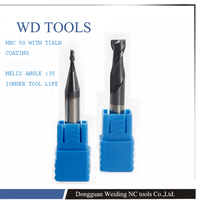 Top quality 1 10mm 2 Flutes HRC50 Tungsten Carbide ball nose End Mills Spiral Bits CNC Endmill Router Bits