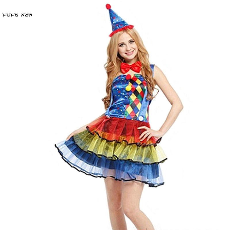 Women Circus Clown Cosplays Adult Halloween Droll Joker Costumes Christmas Purim Carnival parade Stage play masked party dress