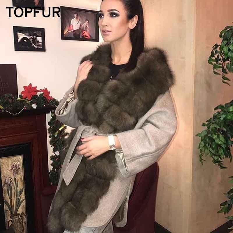 Renard Peau D'hiver Topfur Luxe Femmes Collier Manteau Avec Qualité Réel Haute Fourrure Des Style Laine 2018 De Nouveau khaki Gray wv8qCxw7