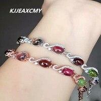 Kjjeaxcmy Fine Jewelry женские руки украшения, 925 серебро турмалин, браслет с инкрустацией, ювелирные изделия, natur