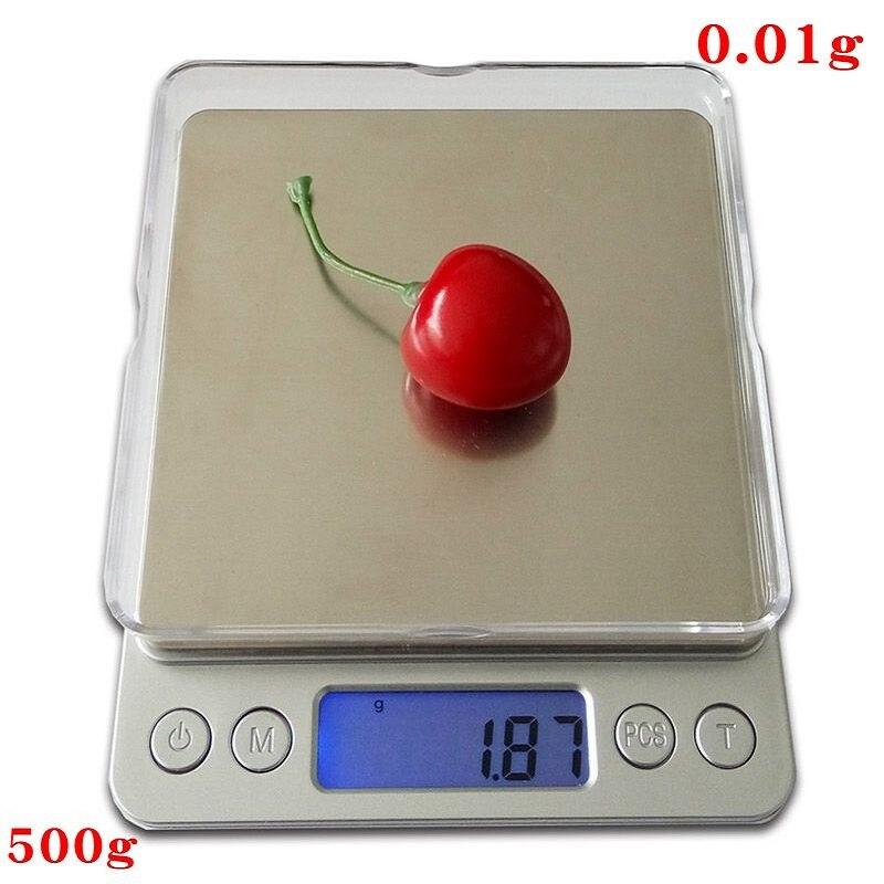 500g x 0.01g Digitale di Precisione Tascabile Gram Bilancia Non-magnetici In Acciaio Inox Piattaforma Elettronica Dei Monili del Peso di Equilibrio bilancia