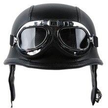 Fashion WWII Style German Motorcycle Half Helmet with Goggles Chopper Biker Pilot Padded Motorcycle Bike Flight