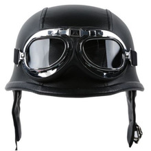 Fashion WWII Style German Motorcycle Half Helmet with Goggles Chopper Biker Pilot Padded Motorcycle Bike Flight Half Helmet
