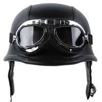 Fashion WWII Style German Motorcycle Half Helmet With Goggles Chopper Biker Pilot Padded Motorcycle Bike Flight