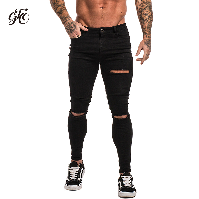 Gingtto Black Ultra Ripped Skinny   Jeans   Men Stretchy Hip Hop Biker   Jeans   Hombre Destroyed Slim Fit Pants Spandex UK Market zm13