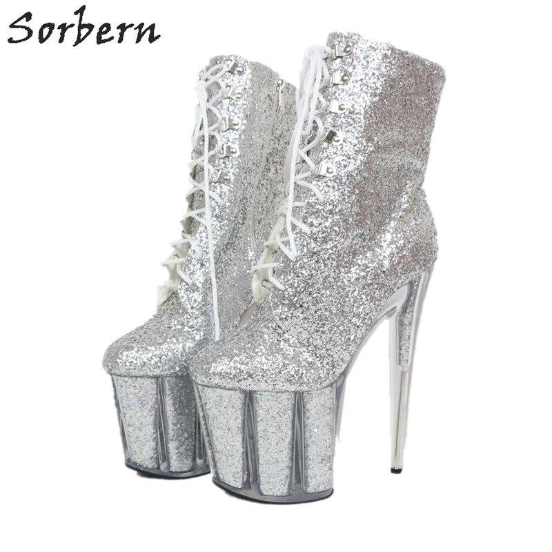 Sorbern/Серебристые Блестящие ботильоны для женщин; Sparerib; ботинки на платформе с блестками; Прозрачный каблук 20 см; Каблук 10 см; обувь на платфор