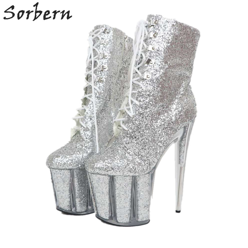 Sorbern Silver Glitter Ankle Boots For