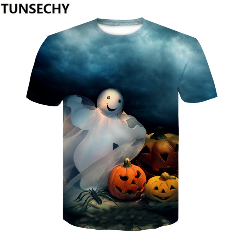 TUNSECHY Halloween compression tight T-shirt summer round collar short sleeve men and women Pumpkin T-shirt Free transportation