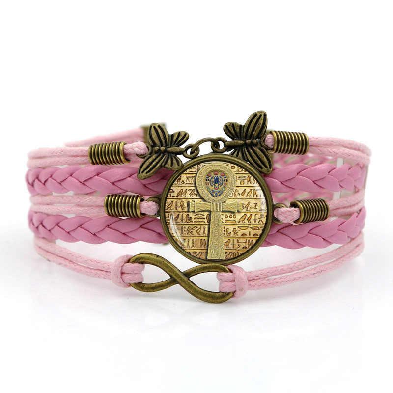 Bracelets en cuir tricotés à la main bracelet égyptien ankh croix multicouche verre convexe combinaison bijoux pour hommes pour femmes cadeau