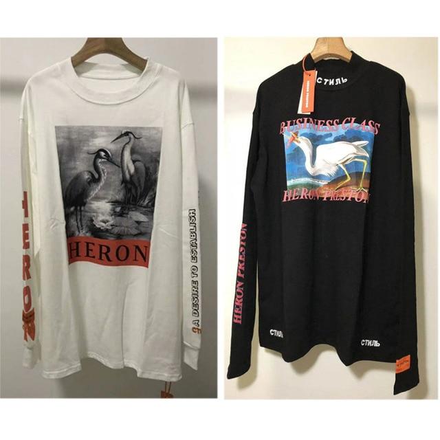 2b1a3bff0e11 Hip Hop Heron Preston T shirts Men Women 1:1 Embroidery HP CTNNB Loose T- Shirt Crane Red-crowned Heron Preston Long Sleeve Tshir