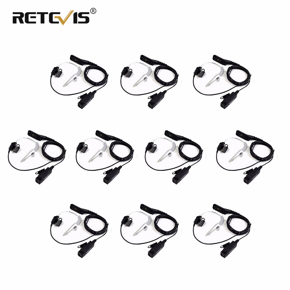 10pcs Wholesale Retevis R-1M21 Large PTT Mic Headset Walkie Talkie Earpiece For Motorola DP4800 DP4801 P8268 Two Way Radio Etc.