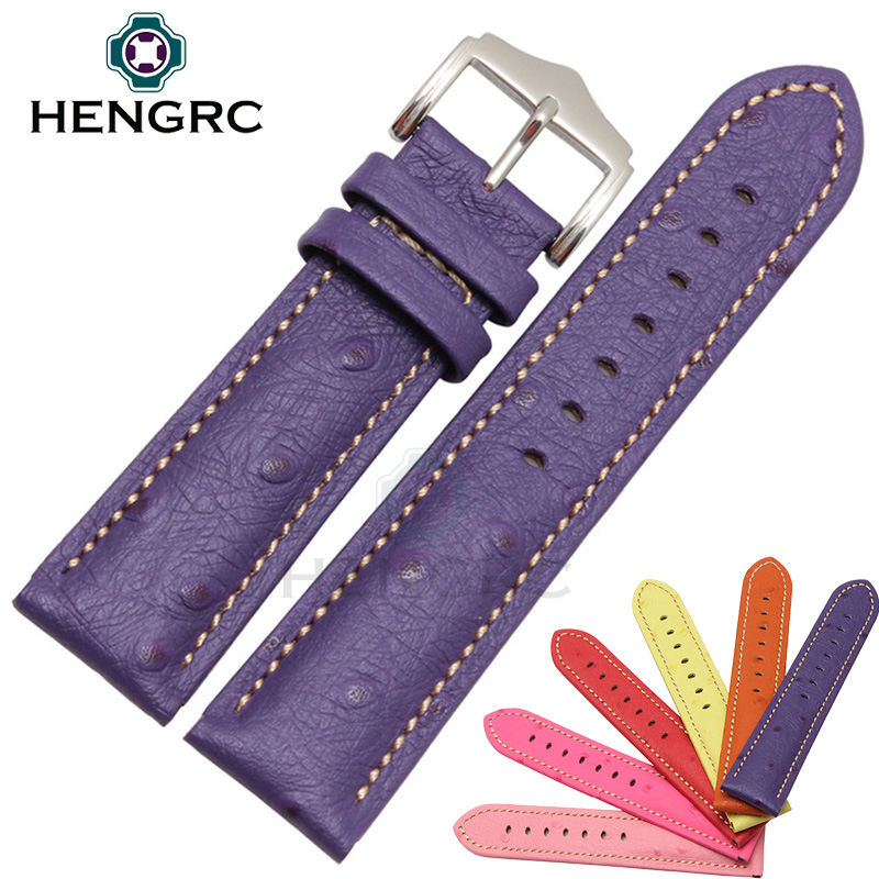 HENGRC Watch Band Strap Fashion Ostrich Grain Genuine Leather Watchband Women 18mm 20mm 22mm Bracelet Buckle Accessories upscale genuine leather bracelet watchband carbon fiber grain 20mm 22mm24mm 26mm watch band strap accessories buckle for panerai