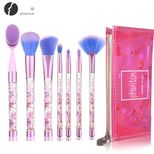 7pcs kristal glitter strass make-up borstel set synthetisch haar stichting pincel met zeemeermin cosmetische make-up tool kits cadeau