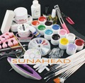 Jumbo Nail Art color UV gel set glitter Decoration brush false tips top cost files 12 colour uv gel Kit tools