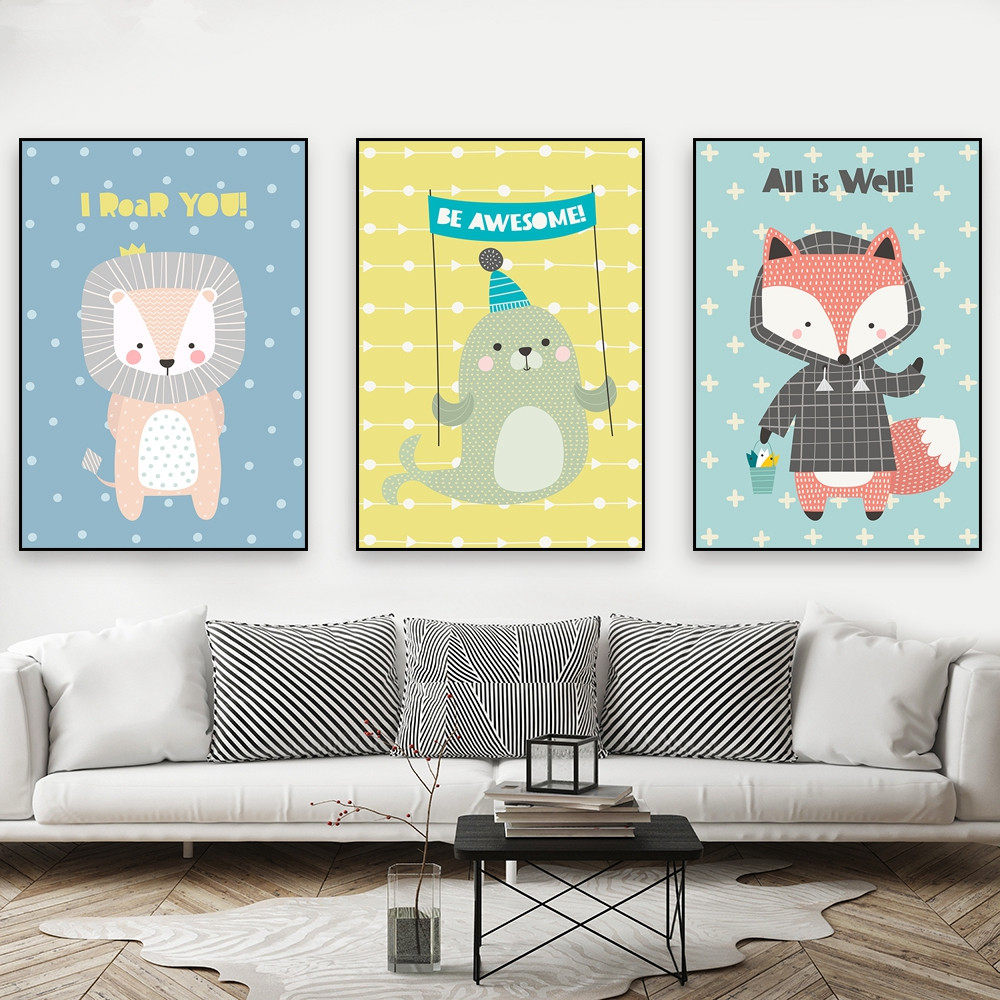 Online Shop Nordic Cartoon Animal Canvas Art Painting for Children\'s ...