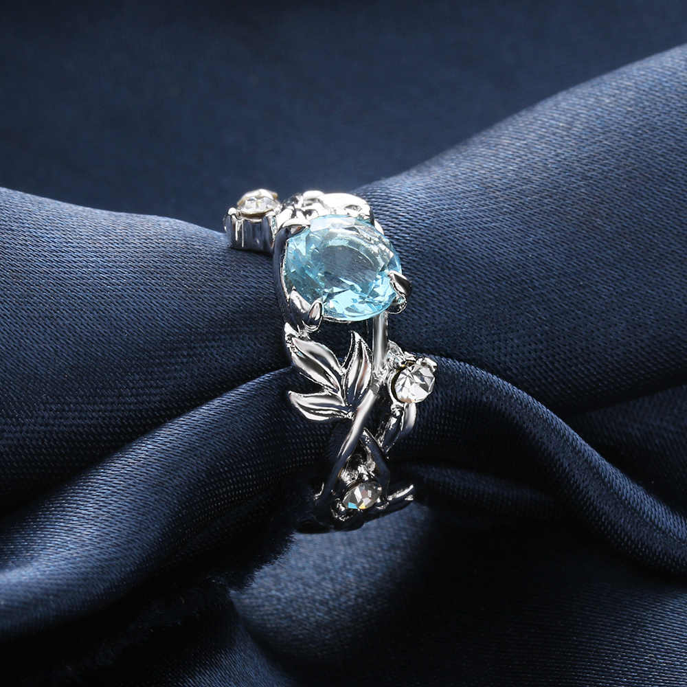 1 Pcs Fashion Women S Floral Ring Lucky Flower Vine Leaf Blue
