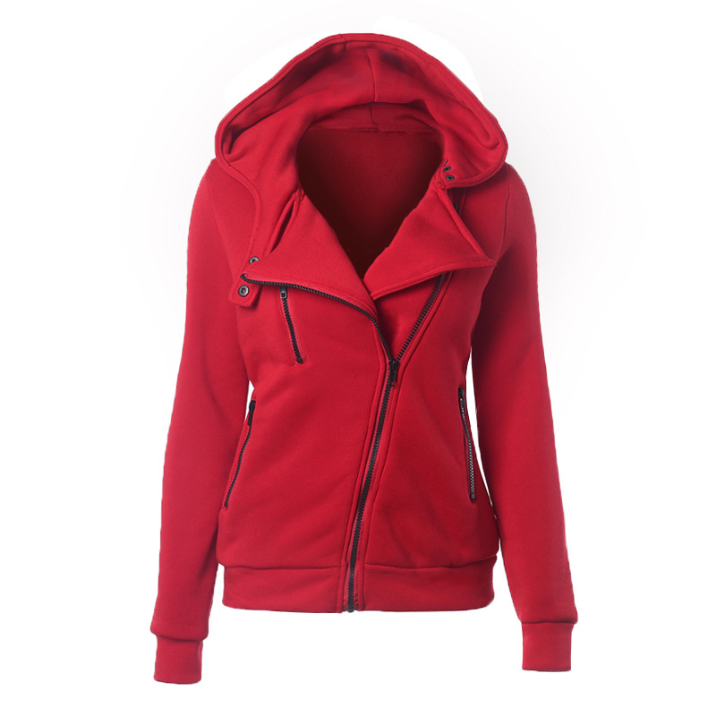 Hooded Female Women's Autumn And Winter New Fashion Plus Velvet Thick European And American Long sleeved Diagonal Zipper Jacket