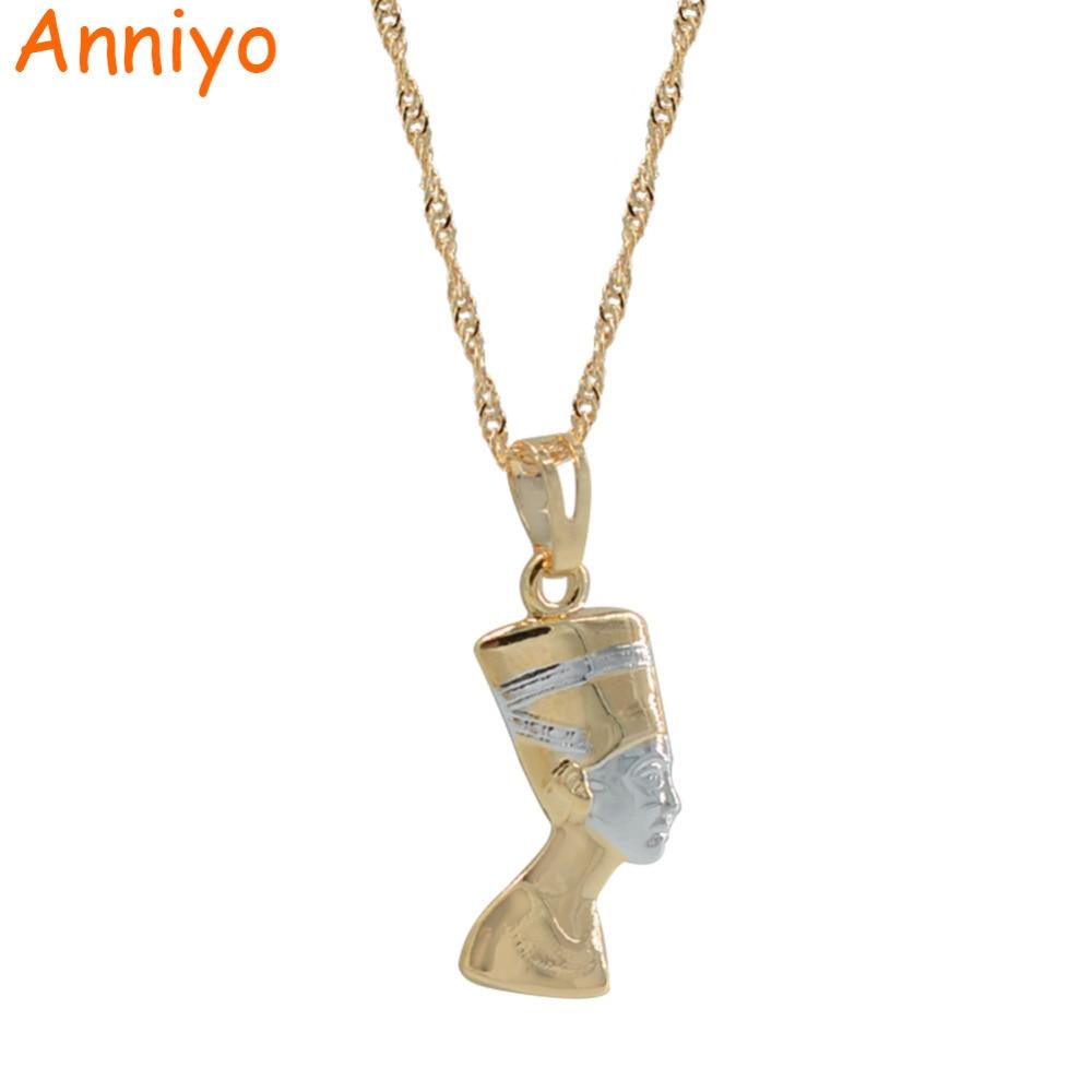 Anniyo SMALL Ancient Egyptian Queen Necklace Pendant Gold Color/Silver Egypt Nefertiti Head Portrait Jewelry #005604