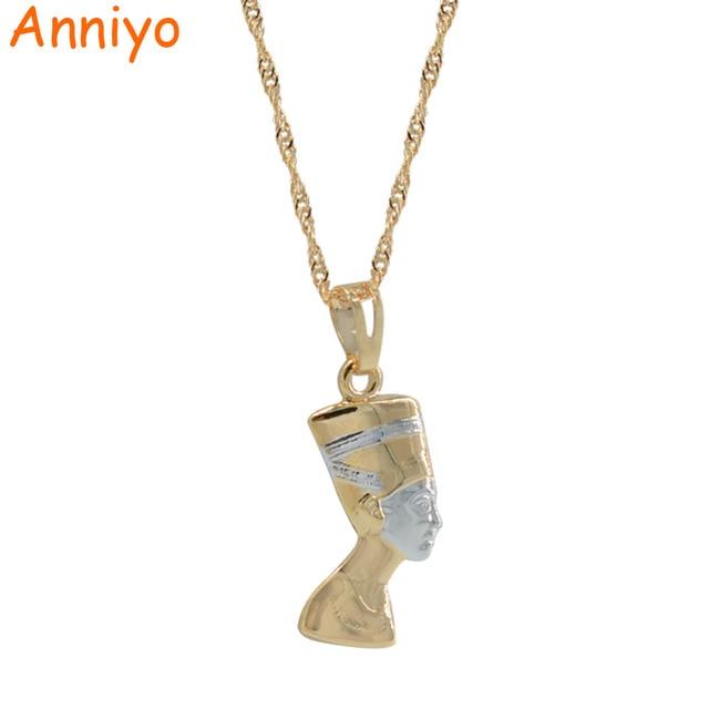 Anniyo Small Ancient Egyptian Queen Necklace Pendant Light Gold Color/Silver Egy