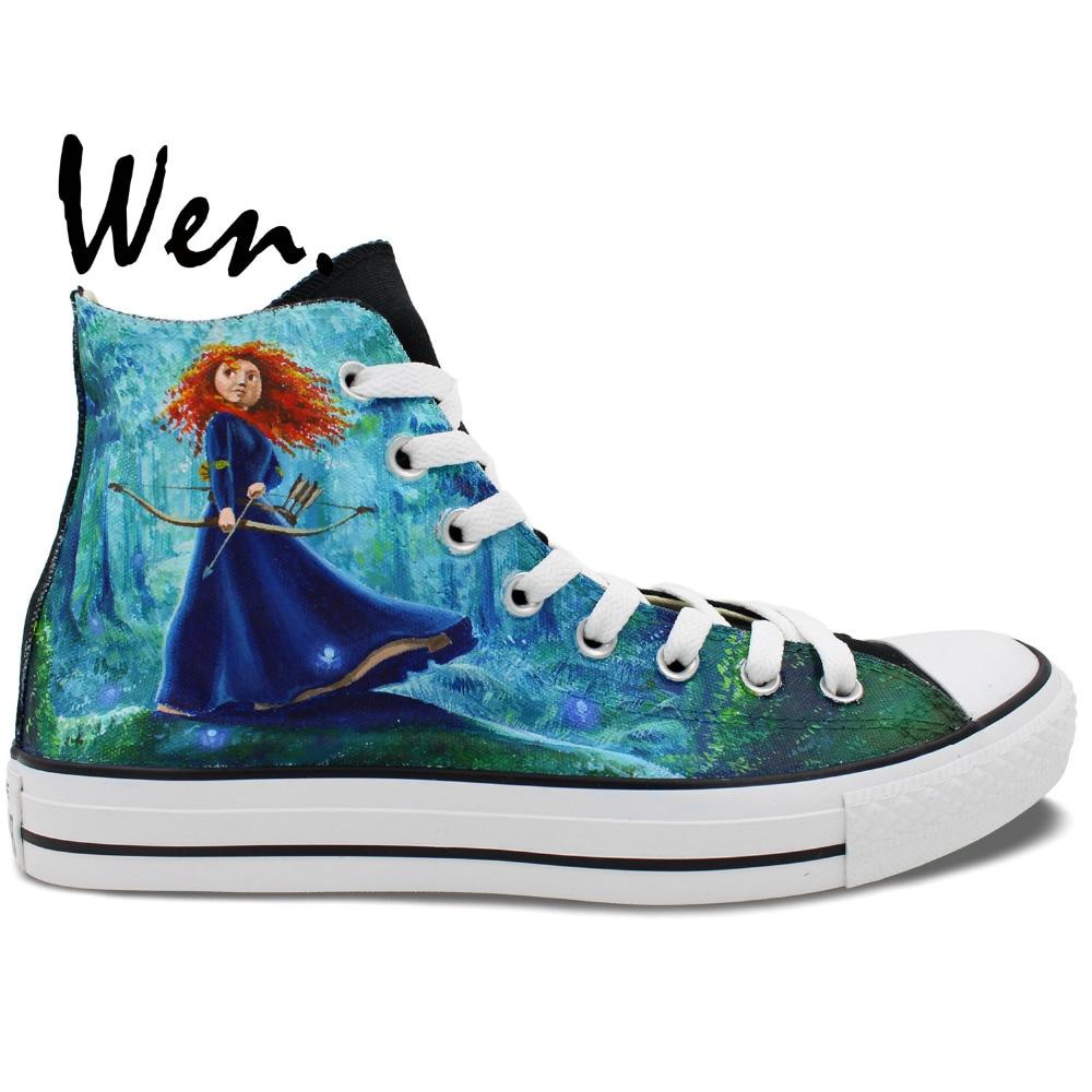 Wen Men Women High Top Sneakers Design Custom Brave Princess Forest Background Hand Painted Canvas Shoes Unique Presents джемпер brave soul brave soul br019ewulg38