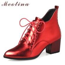 Meotina Otoño Botas Mujer Botines Punta estrecha Lace Up Media Tacones gruesos Botas Cortas Más El Tamaño 33-43 Señoras Zapatos De Invierno Rojo