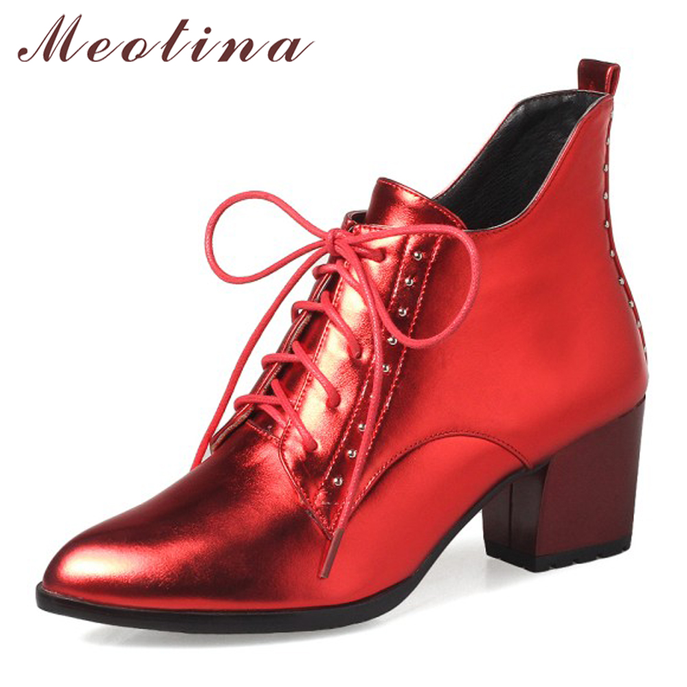 Meotina Winter Boots Women Pointed Toe Ankle Boots Lace Up Rivets Chunky Heel Short Martin Boots Big Size 33-43 Ladies Shoes Red
