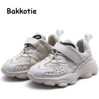 Bakkotie 2019 Autumn Kids Sports Shoes Boys New Genuine Leather Black Casual Shoes Children Fashion Breathable Mesh Sneakers