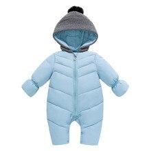 Осень-зима для маленьких мальчиков и девочек с капюшоном комбинезон новорожденных вниз хлопок комбинезоны Для детей Открытый теплый лыжный костюм пальто P130