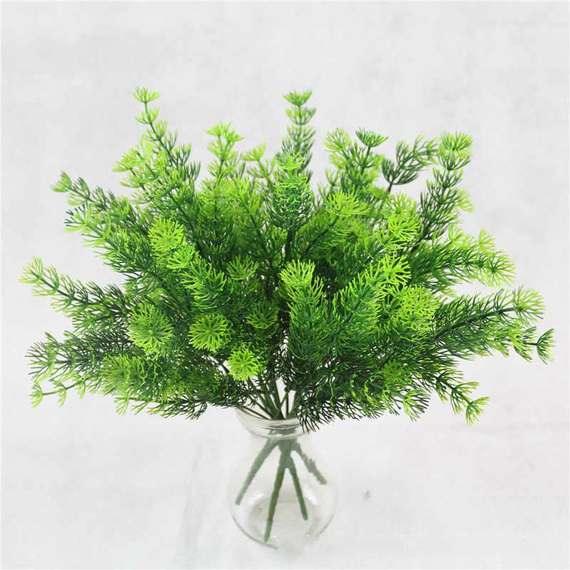 בית גן חיצוני חתונת קישוט מזויף פרח אבזר פלנט Artificielle 7 מזלג פלסטיק שרך דשא ירוק עלה מזויף צמח