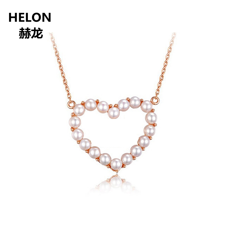 Solid 18k Rose Gold Women Pendant Necklace 3mm 100% Freshwater Pearl Pendant Heart Shape Fine Jewelry