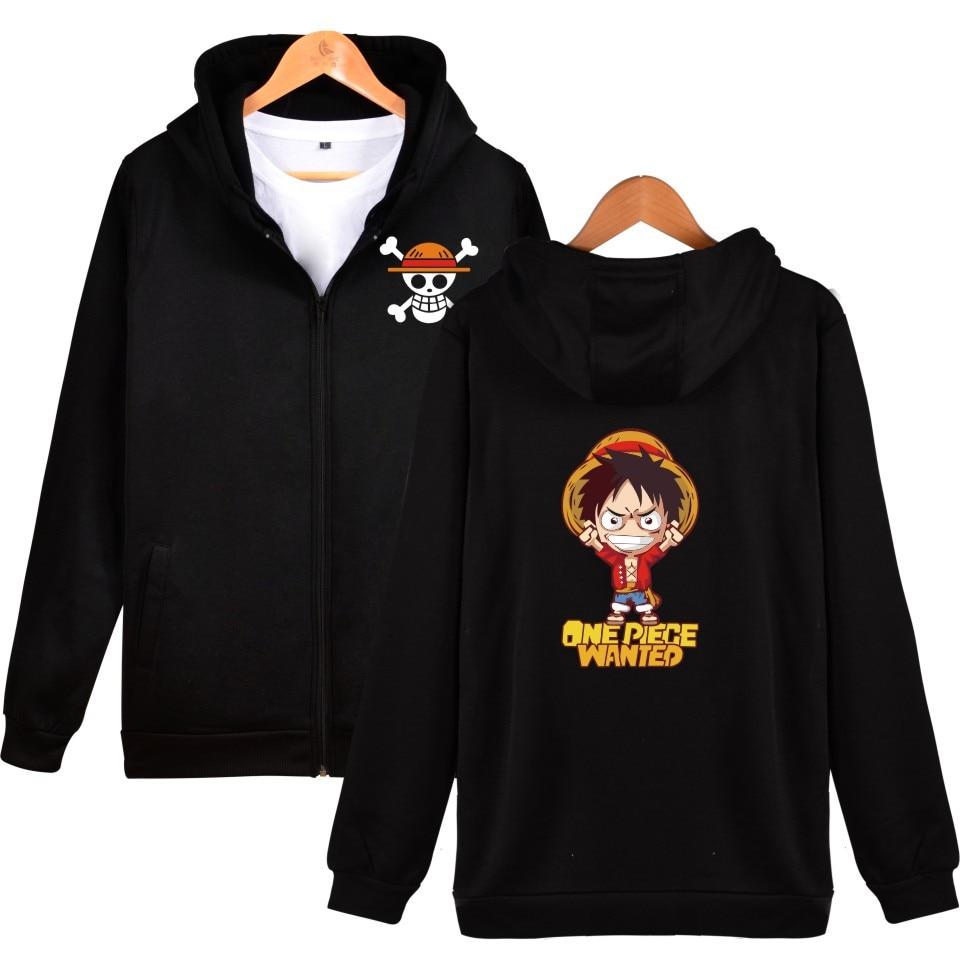 Цельная Толстовка для мужчин, женщин, детей, хлопковая одежда, пальто на молнии, куртка с капюшоном, Luffy Wanted