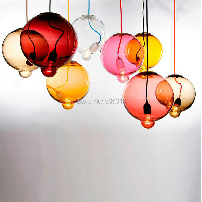 Modern Brief Colorful Hand Blown Plated Glass Pendant Light With Salient Bubble Shape Led Simple Hanging