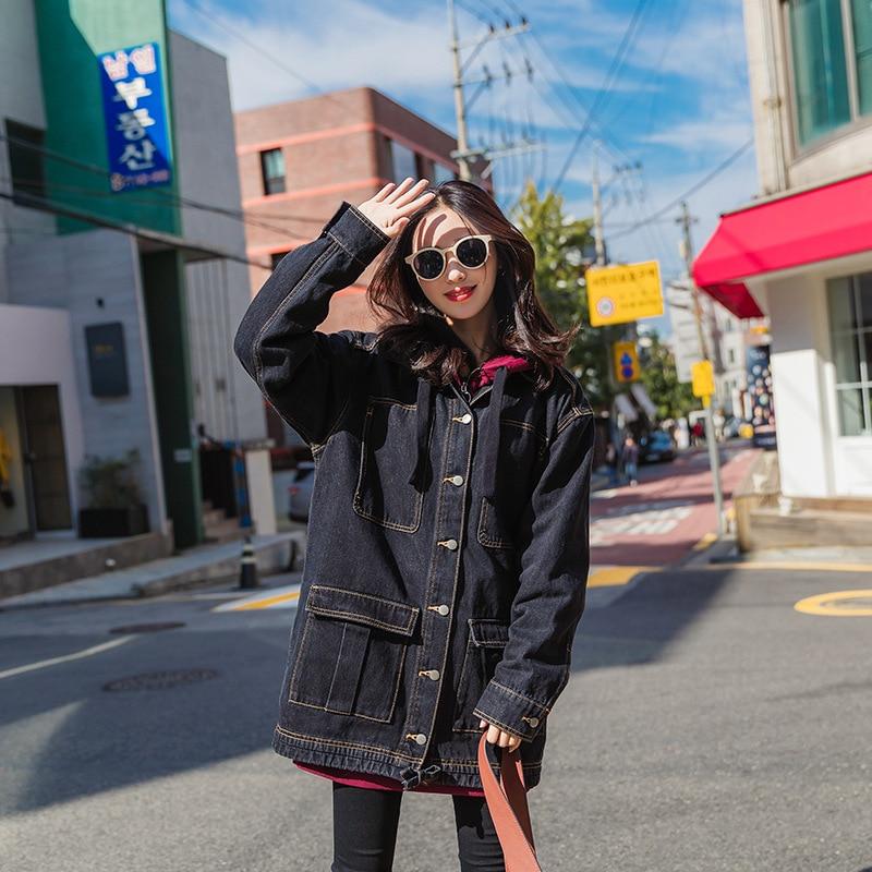 Vêtements Mode Des Pour Automne Dame Casual Survêtement Manteau Long Avec Printemps De Noir Denim Black Nouveau Amples La Poches Femmes WEDIH29
