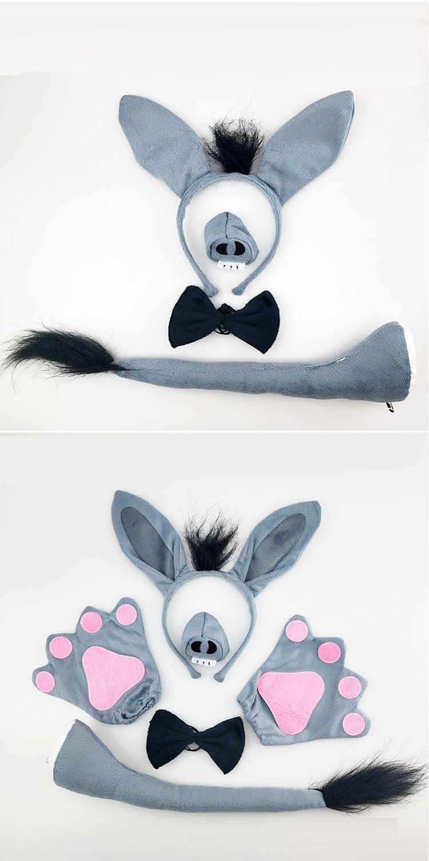 Adultos niños niño niña burro rol de cosplay juego disfraz Animal carnaval fiesta accesorios Halloween diadema cola corbata nariz pata