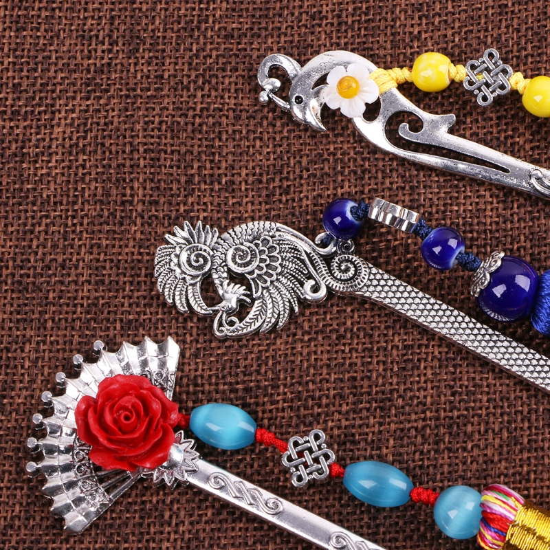 Chinese Style Vintage Antique Metal Bookmark Handmade Weave Long Tassel Beads Traditional Book Mark School Office Supplies