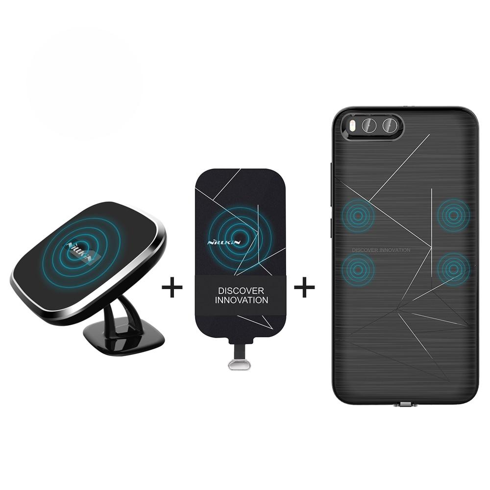 Per xiaomi mi6 copertura di caso di 5.15 ''NILLKIN qi wireless charger pad + ricevitore caso del caricatore Magnetico senza fili del Caricatore Portatile Pad