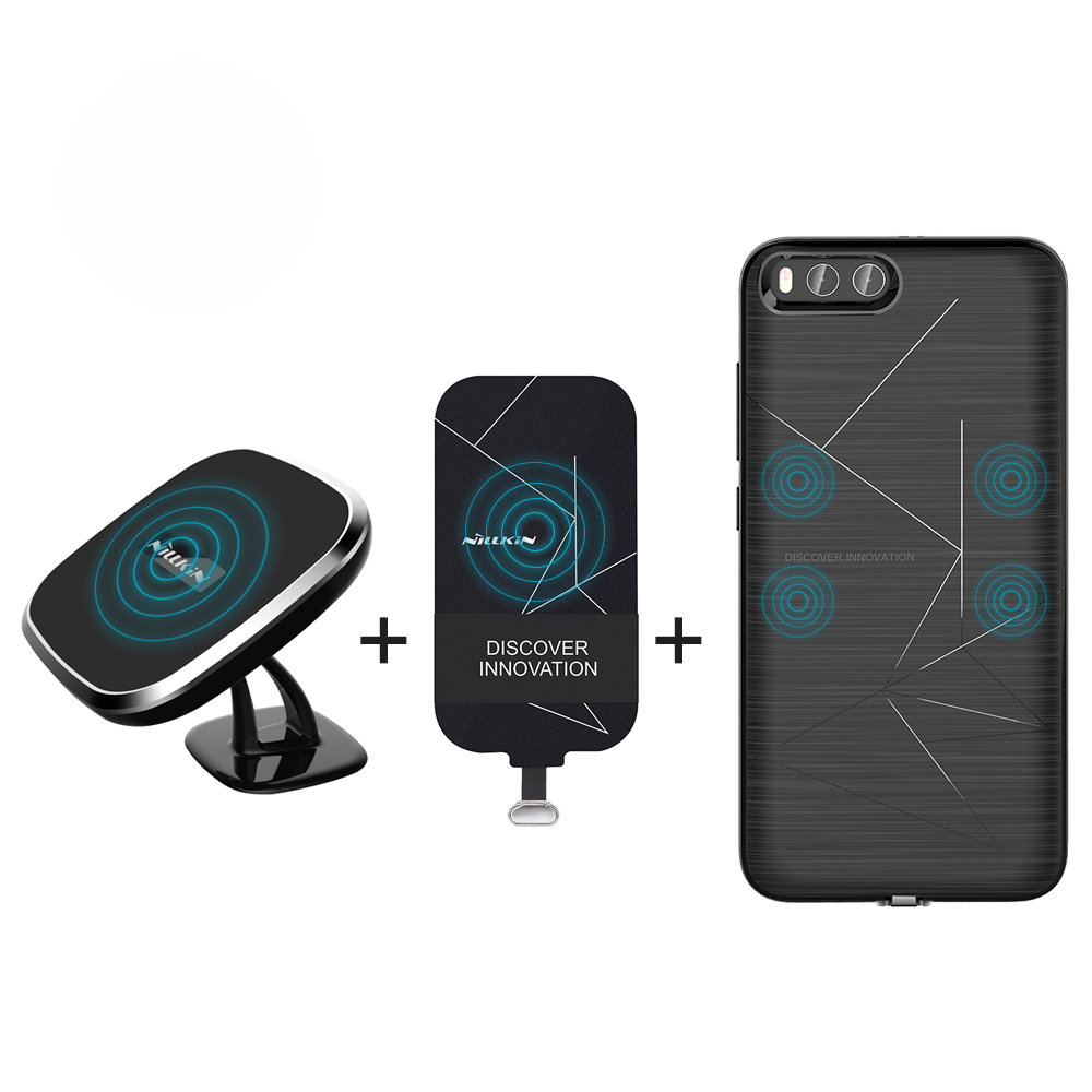Pour xiaomi mi6 cas couverture 5.15 ''NILLKIN qi sans fil chargeur pad + Magnétique chargeur sans fil récepteur cas Portable Chargeur Pad