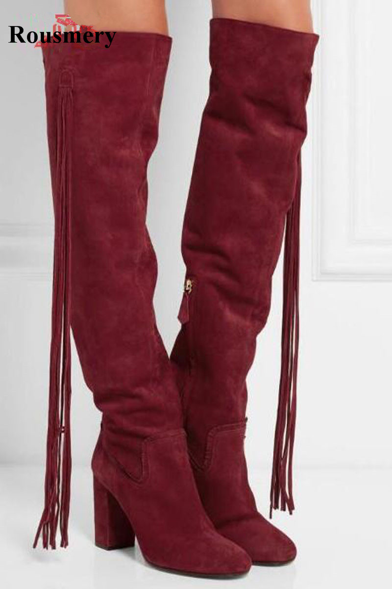 High Quality Women Fashion Round Toe Knee High Tassels Thick Heel Boots Newest Sexy Long Fringes High Heel BootsHigh Quality Women Fashion Round Toe Knee High Tassels Thick Heel Boots Newest Sexy Long Fringes High Heel Boots