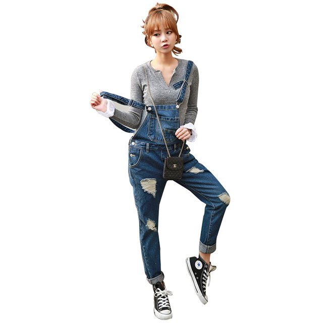 Nova Primavera Denim Mulheres Macacões Romper Calças Compridas Branqueada Arranhado Ripped Vaqueros Calça Jeans Macacão Suspender Macacão Feminino