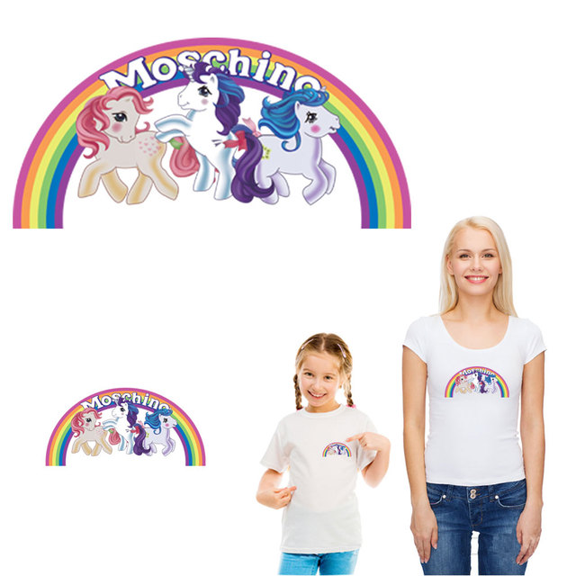 ef05595665 cartoon rainbow my little pony heat transfer ironing stickers patches for  clothing diy decoration applique for