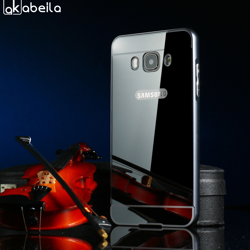 AKABEILA Mirror Metal frame Phone Cases For Samsung Galaxy J7 2016 J710F J710FN J7109 J7100 5.5 inch Covers Shells Bag