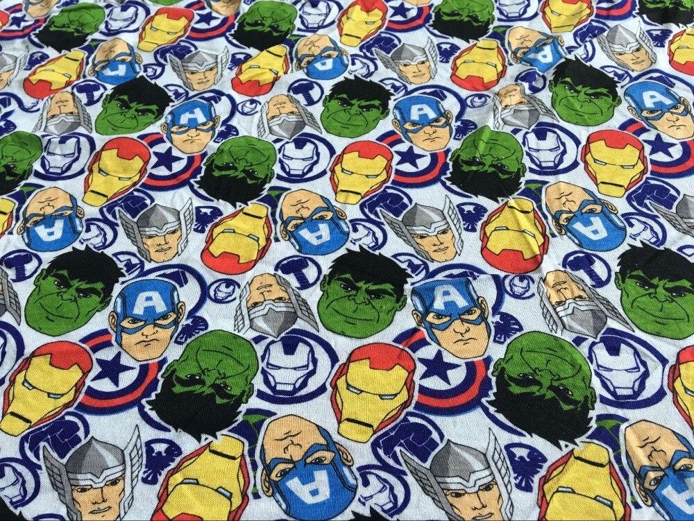 NEW width 160cm cotton knitting fabric print Patchwork Hulk Iron Man DIY kids clothes materials